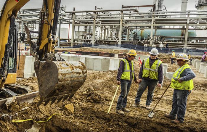 men working foundation site