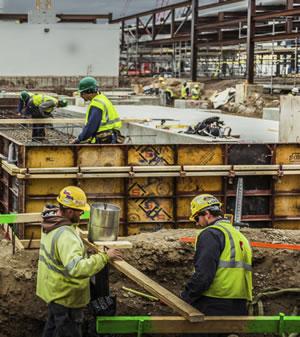men working construction site