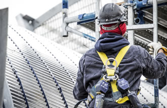 man in safety harness