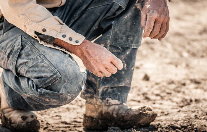 muddy boots and jeans